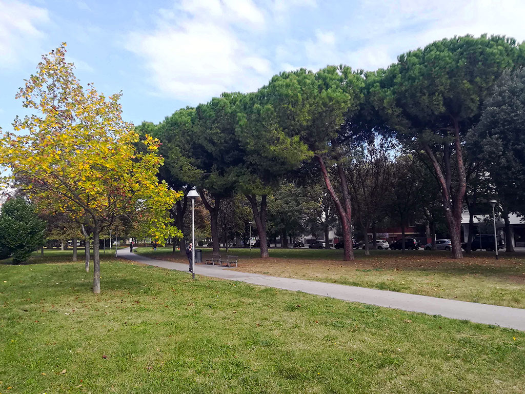 rimini park with a road where a person is having a walk